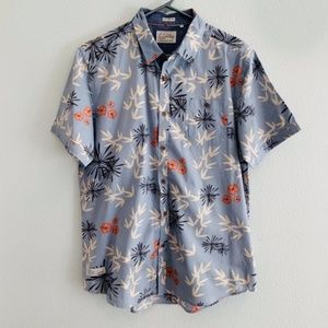 7 Diamonds Blue Floral Collared Short Sleeve Shirt